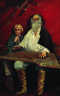 Andrei Petrovich Ryabushkin. Blind guslar singing old fashioned. 1887