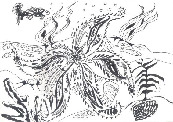 "Николай Николаевич Оларь. Series of stylized drawings: ""Underwater fantasy"" (9)"