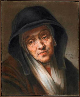 Jean Baptiste Simeon Chardin. Portrait of an elderly woman (after Rembrandt van Rijn)