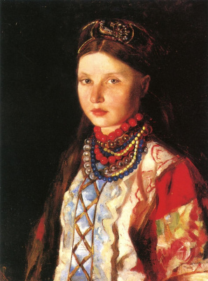 Marianna Vladimirovna Verevkina. Portrait of a girl in Russian costume