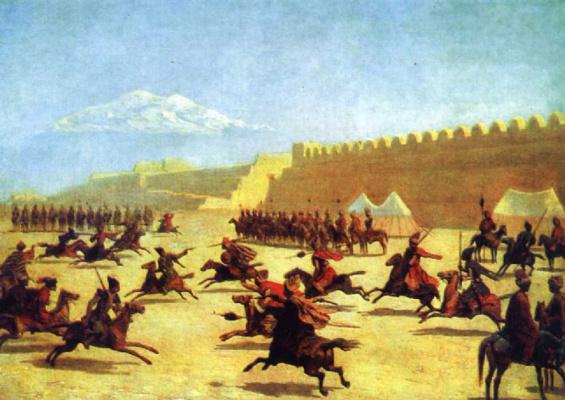 Григорий Григорьевич Гагарин. Джигитовка курдов и татар перед крепостью Сардар-Аббат в Армении. 1840-е