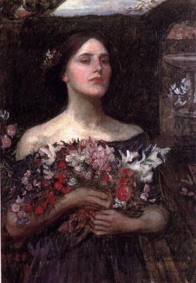 John William Waterhouse. Ophelia. Gathered rosebuds. Sketch