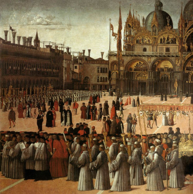 Gentile Bellini. The procession of the relics of the Holy Cross in St. Mark's Square. Fragment III