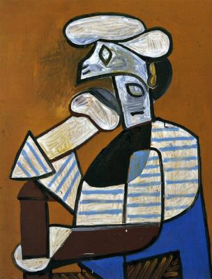 Пабло Пикассо. Сидящий рыбак в фуражке