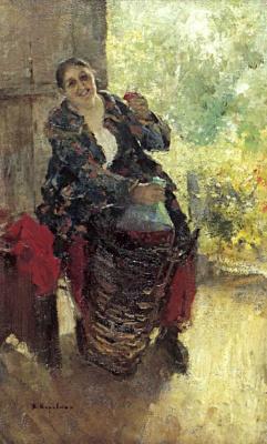 Константин Алексеевич Коровин. Хозяйка (Женщина с вином)