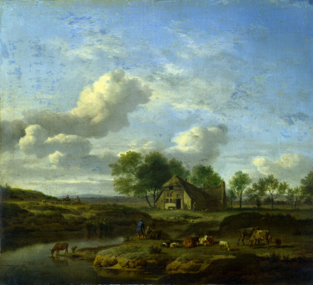 Adrian van de Velde. Landscape with a farm on stream