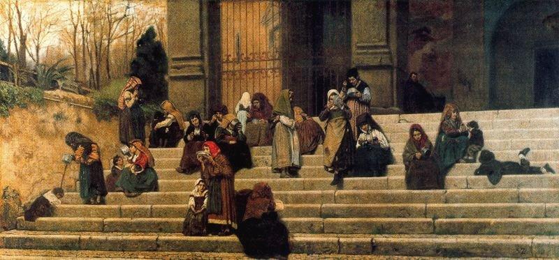 Federico Zandomenegi. Beggars on the steps of the convent of Aracoeli, or Rome Experience