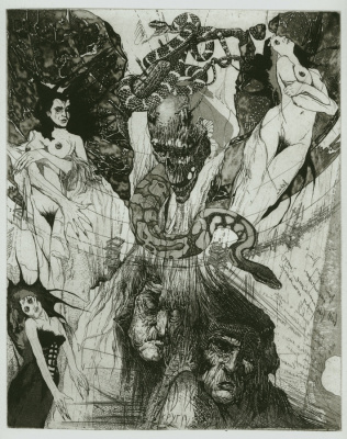 Alexander Nikolayevich Steshenko. Four furies. Illustration to Dante's divine Comedy