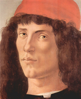 Sandro Botticelli. Portrait of a young man with medal of Cosimo de ' Medici the Elder (detail)