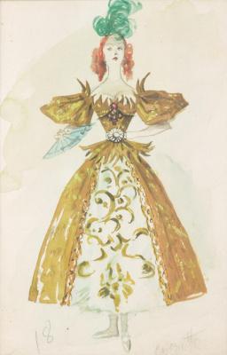 """Доротея Таннинг. Кокетка. Дизайн костюма для балета """"Ночная тень"""""""