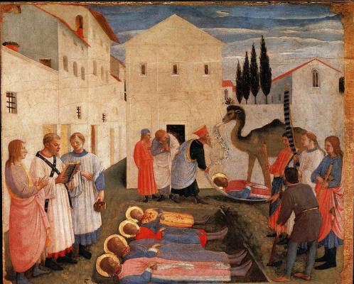 Фра Беато Анджелико. Погребение святых Косьмы и Дамиана. Алтарь монастыря Сан Марко. Пределла 7