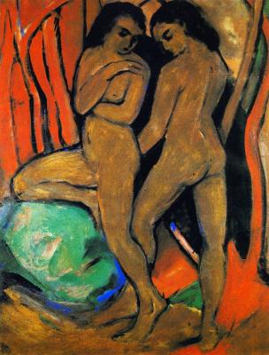 Франц Марк. Две обнаженные женщины возле зеленого камня