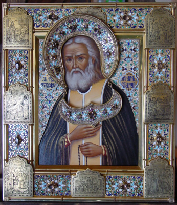 Moscow Icon Painting Workshop. Icon in salary Seraphim of Sarov