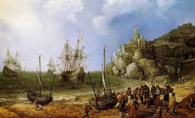 Адам Виллаертс. Корабли на пляже