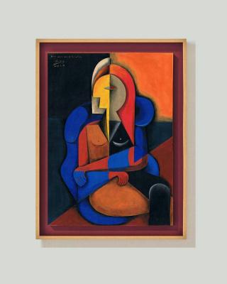 Arturo Carmona. Femme assise dans fauteuil bleu