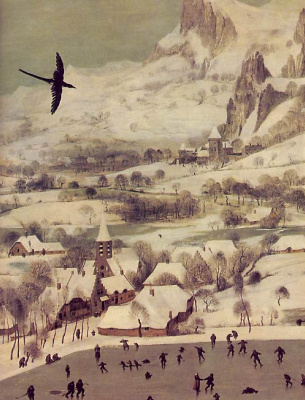 Pieter Bruegel The Elder. Hunters in the snow. Fragment 1. The castle at the foot of the mountains