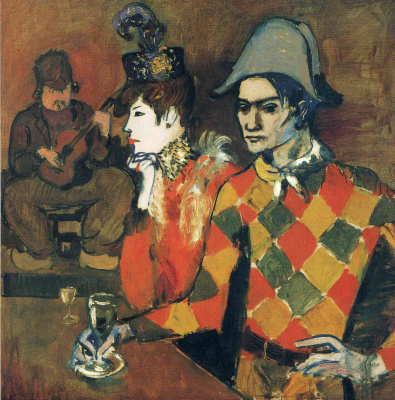 "Pablo Picasso. In the ""Agile rabbit"". Harlequin with a glass"