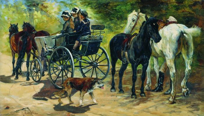 Николай Семенович Самокиш. Прогулка. 1884