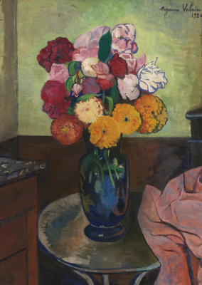 Suzanne Valadon. Vase of flowers on the round table