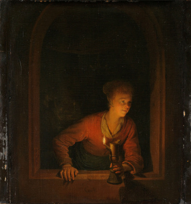 Gerrit (Gerard) Dow. The girl in the window with an oil lamp
