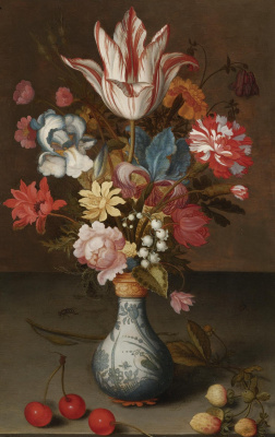 Baltazar van der Ast. Floral bouquet in a vase van and cherries on the table