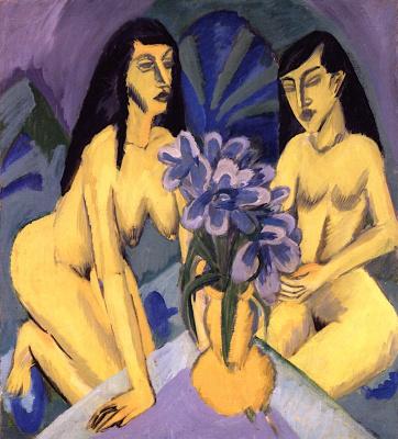 Две обнаженные женщины с букетом цветов