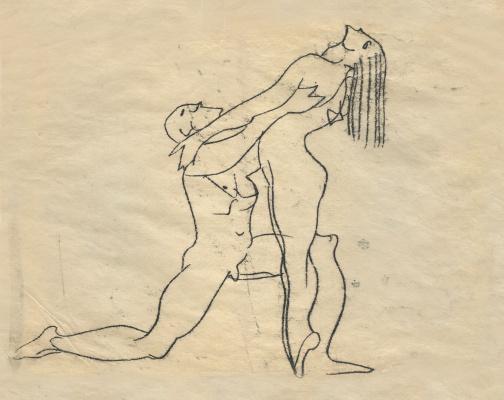 Alexandrovich Rudolf Pavlov. A sketch of dancing nudes. 1960s