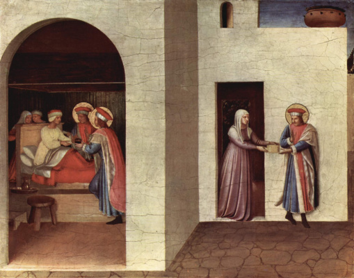 Фра Беато Анджелико. Центральный алтарь святых Косьмы и Дамиана из доминиканского монастыря Сан Марко во Флоренции, основание триптиха, первая сцена: