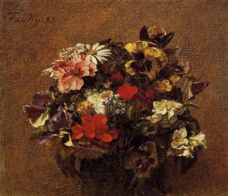 Henri Fantin-Latour. A bouquet of flowers pansies