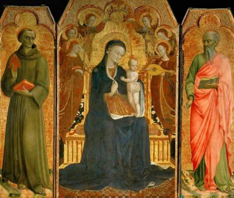 Сассетта. Мадонна с младенцем на троне в окружении шести ангелов, со святыми Антонием Падуанским и Иоанном Евангелистом