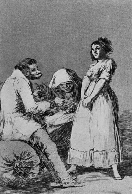 """Francisco Goya. A series of """"Caprichos"""", page 73: it is best to sit back"""