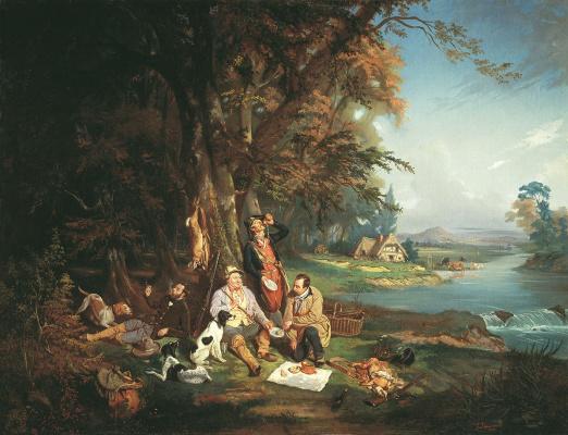 Bogdan Pavlovich Willewalde. Hunters on a halt. 1844
