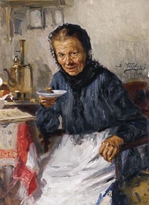 Владимир Егорович Маковский. Старушка, пьющая чай