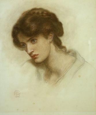 "Dante Gabriel Rossetti. Portrait Of Maria Spartan (Mrs. William J. Stillman). A sketch for the painting ""the Dream of Dante"""