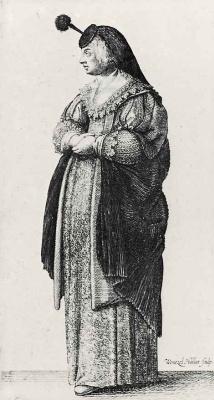 Венцель Холлар. Стоящая женщина, повернувшаяся влево