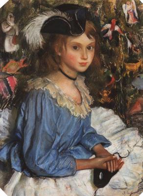 Зинаида Евгеньевна Серебрякова. Катя в голубом у елки