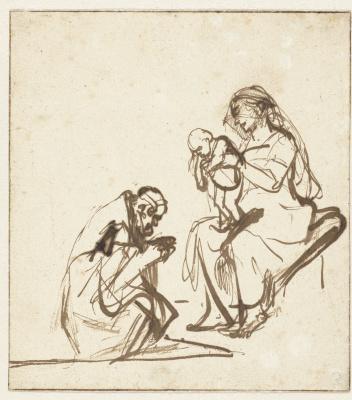 Рембрандт Харменс ван Рейн. Один из царей поклоняется Деве и Младенцу