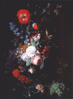 Ян ван Хейсум. Натюрморт с цветами и фруктами