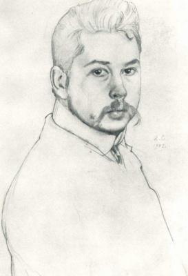 Constantin Somov. Автопортрет. 1902   графитный карандаш, белила