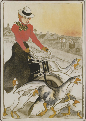 Theophile-Alexander Steinlen. On a motorcycle among the geese