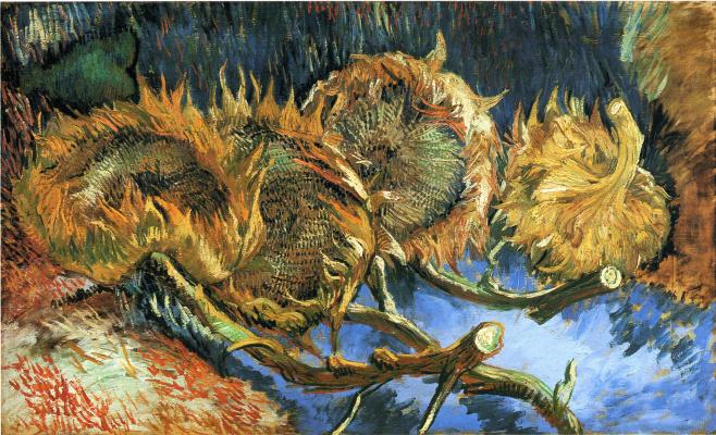 Vincent van Gogh. Four sunflower