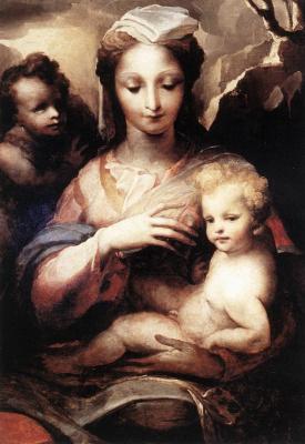 Доменико Беккафуми. Мадонна с младенцем Христом и Иоанном Крестителем (фрагмент)