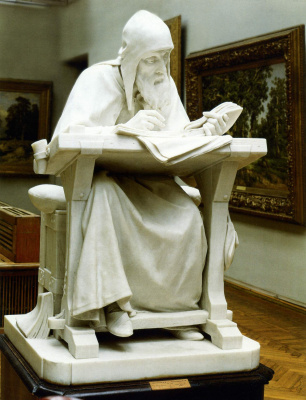 Mark Matveevich Antokolsky. Nestor the chronicler. Reduced repetition of statues in marble (1890), located in the timing