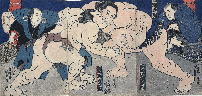 Utagawa Kunisada. Triptych: the sumo Wrestlers Shiranui Aquaman and Tsurugisan Tanemon