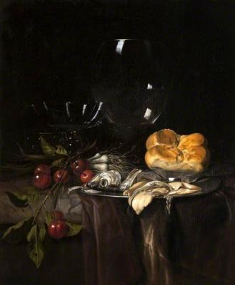 Willem van Aelst. Still-life: herring, cherries and glass