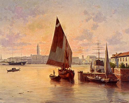 Жак Карабаин. Заходящее солнце в Венеции