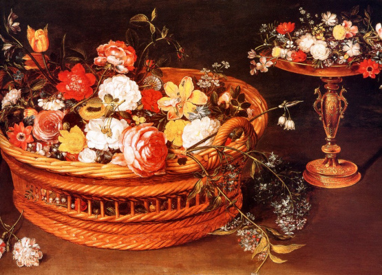 Jan Bruegel The Elder. The basket of flowers. Fragment