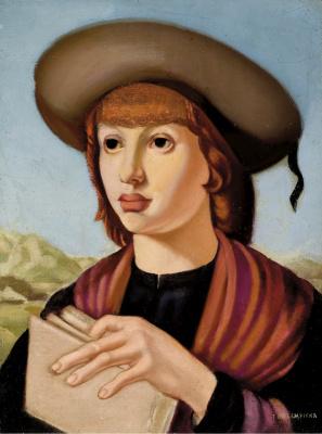 Tamara Lempicka. A young man with a book