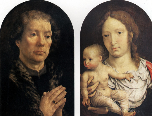 Ян Госсарт. Диптих Каронделе: Ян Каронделе слева и Мадонна с младенцем справа