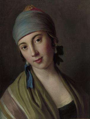Пьетро Ротари. Портрет женщины с синим шарфом и полосатым платком